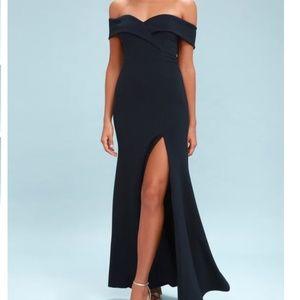Lulus Navy Evening Dress Gown Slit Off Shoulder XS